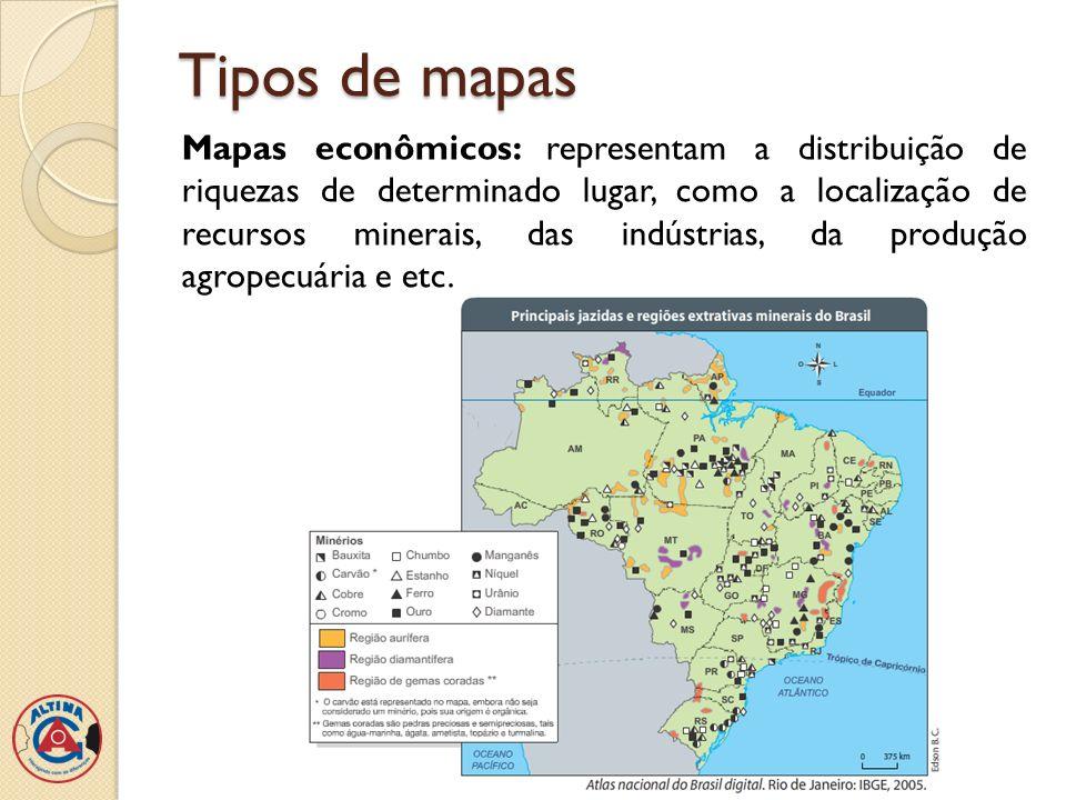Tipos de mapas Mapas demográficos: representam aspectos naturais de determinada área, como relevo, hidrografia, clima ou vegetação.