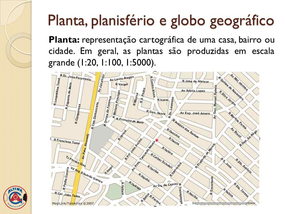 Planta, planisfério e globo geográfico Planisfério: representa toda a superfície terrestre.
