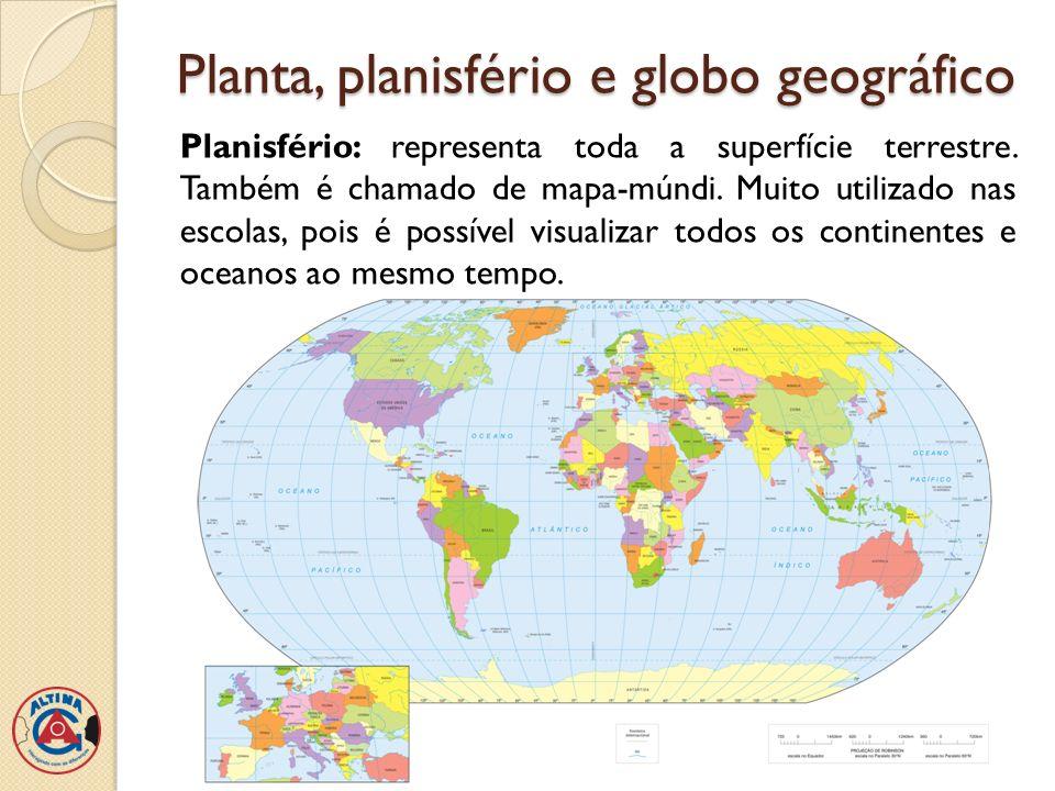 Planta, planisfério e globo geográfico Globo geográfico: representa a forma e a superfície da Terra com mais fidelidade que um mapa.