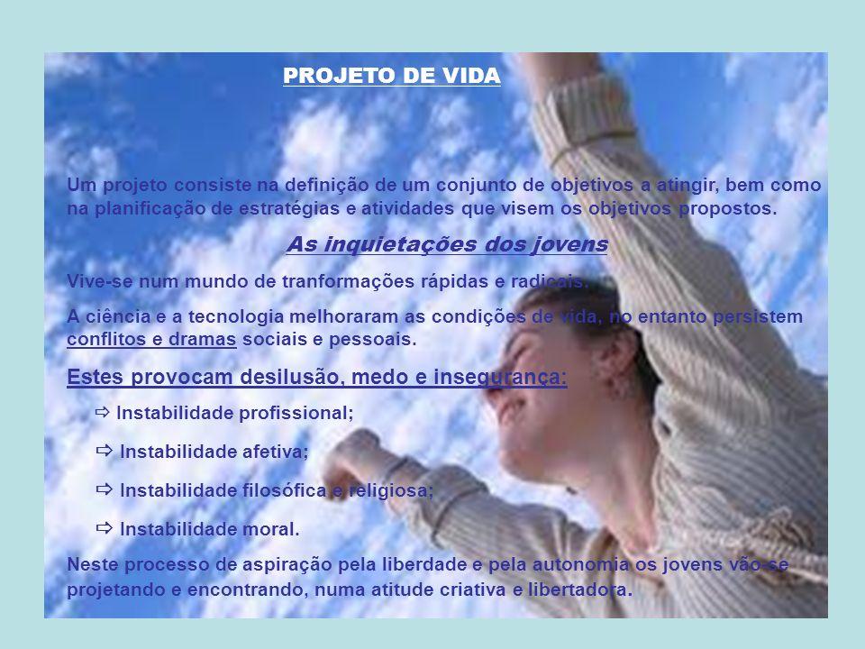 PROJETO DE VIDA Um projeto consiste na definição de um conjunto de objetivos a atingir, bem como na planificação de estratégias e atividades que visem