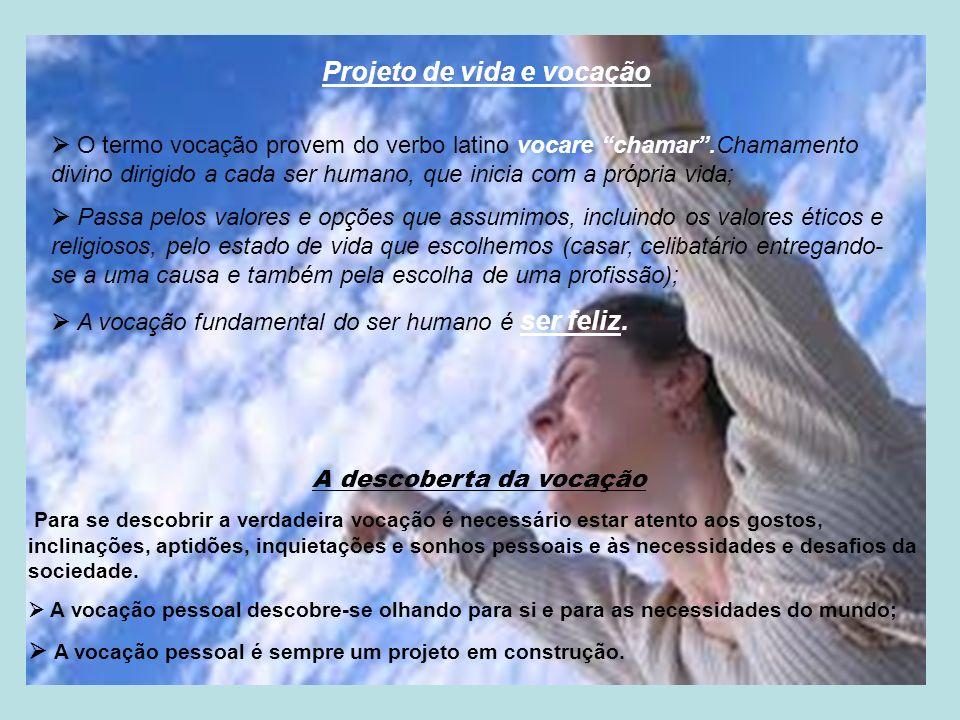 Projeto de vida e vocação O termo vocação provem do verbo latino vocare chamar.Chamamento divino dirigido a cada ser humano, que inicia com a própria
