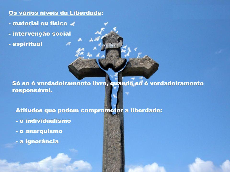 Os vários níveis da Liberdade: - material ou físico - intervenção social - espiritual Atitudes que podem comprometer a liberdade: - o individualismo -