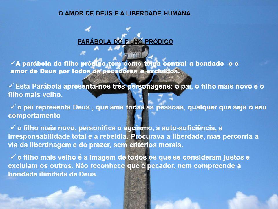 O AMOR DE DEUS E A LIBERDADE HUMANA PARÁBOLA DO FILHO PRÓDIGO A parábola do filho pródigo tem como tema central a bondade e o amor de Deus por todos o
