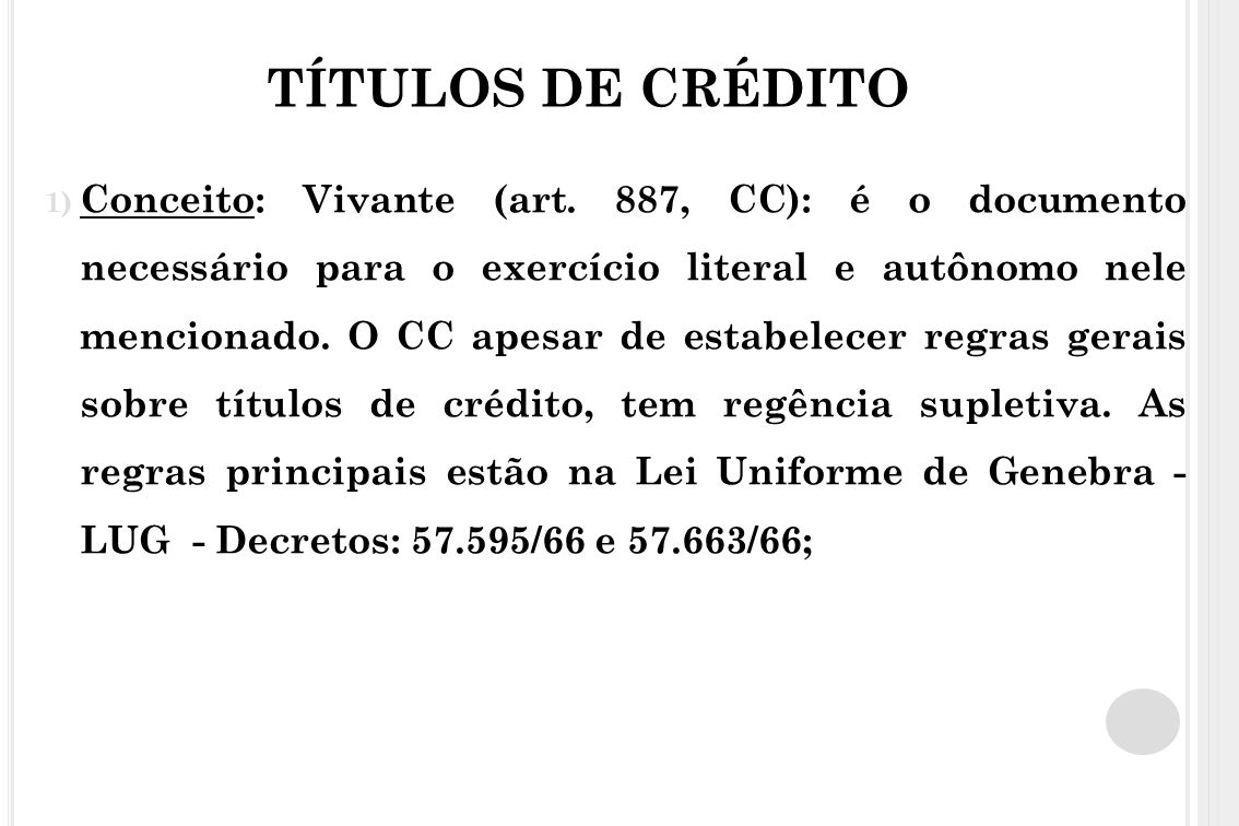 TÍTULOS DE CRÉDITO d) Endosso: transmissão de direitos a terceiros ; Pode ser em branco (não identifica o endossatário – vira título ao portador); ou em preto (identifica o credor);