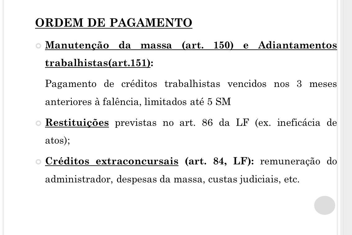 ORDEM DE PAGAMENTO Manutenção da massa (art. 150) e Adiantamentos trabalhistas(art.151): Pagamento de créditos trabalhistas vencidos nos 3 meses anter