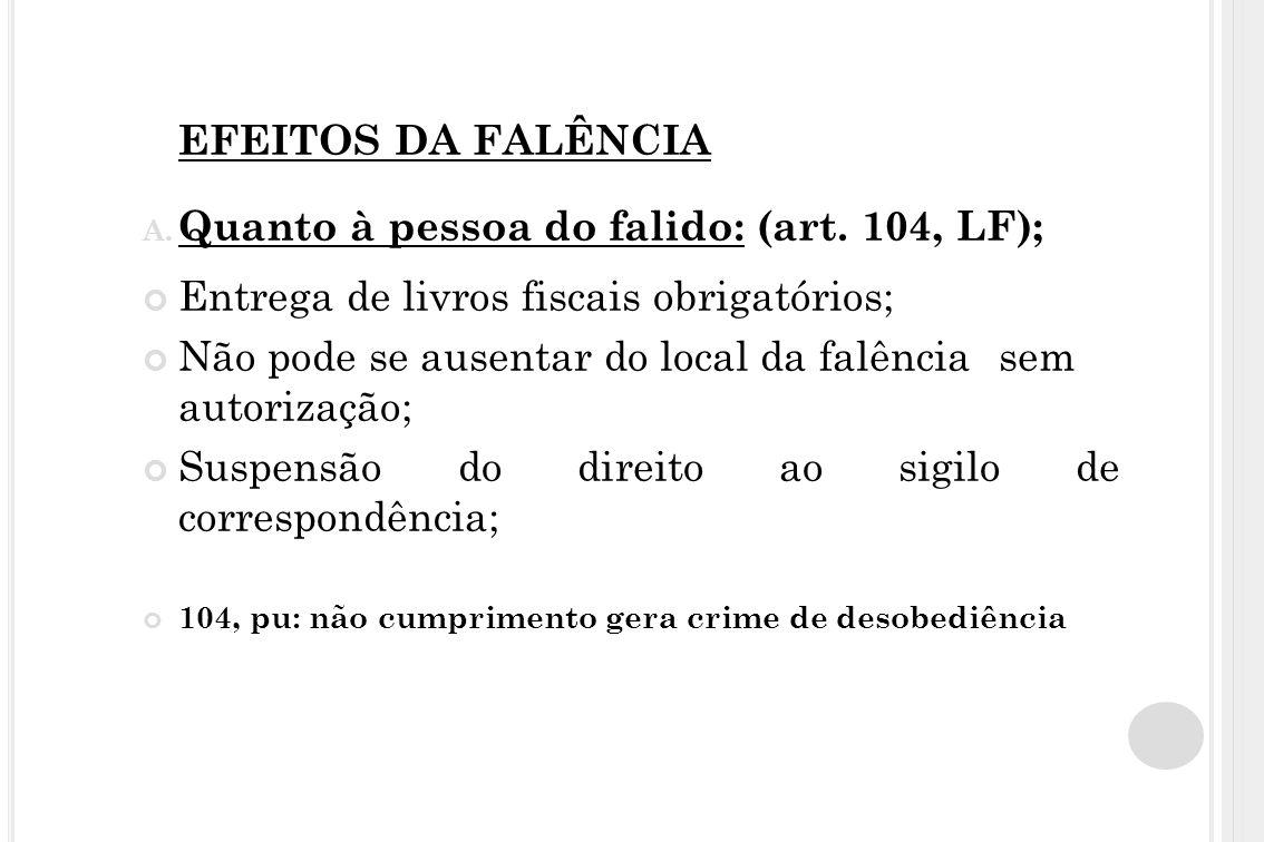 EFEITOS DA FALÊNCIA A. Quanto à pessoa do falido: (art. 104, LF); Entrega de livros fiscais obrigatórios; Não pode se ausentar do local da falência se