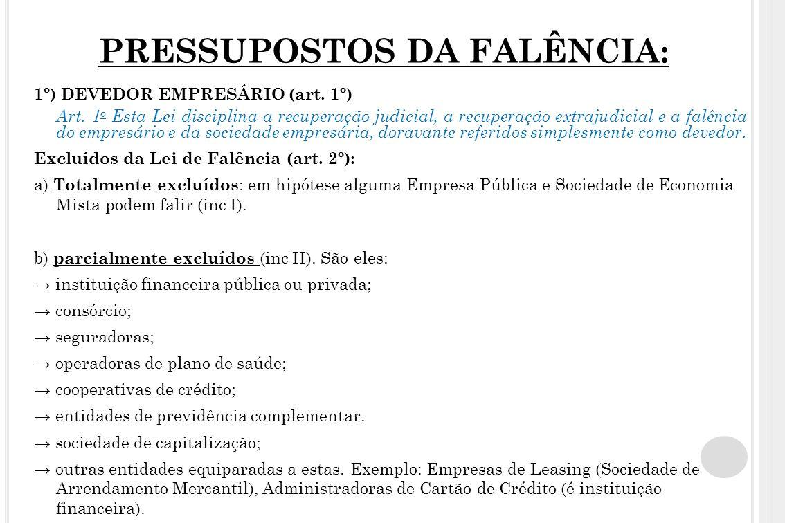 PRESSUPOSTOS DA FALÊNCIA: 1º) DEVEDOR EMPRESÁRIO (art. 1º) Art. 1 o Esta Lei disciplina a recuperação judicial, a recuperação extrajudicial e a falênc