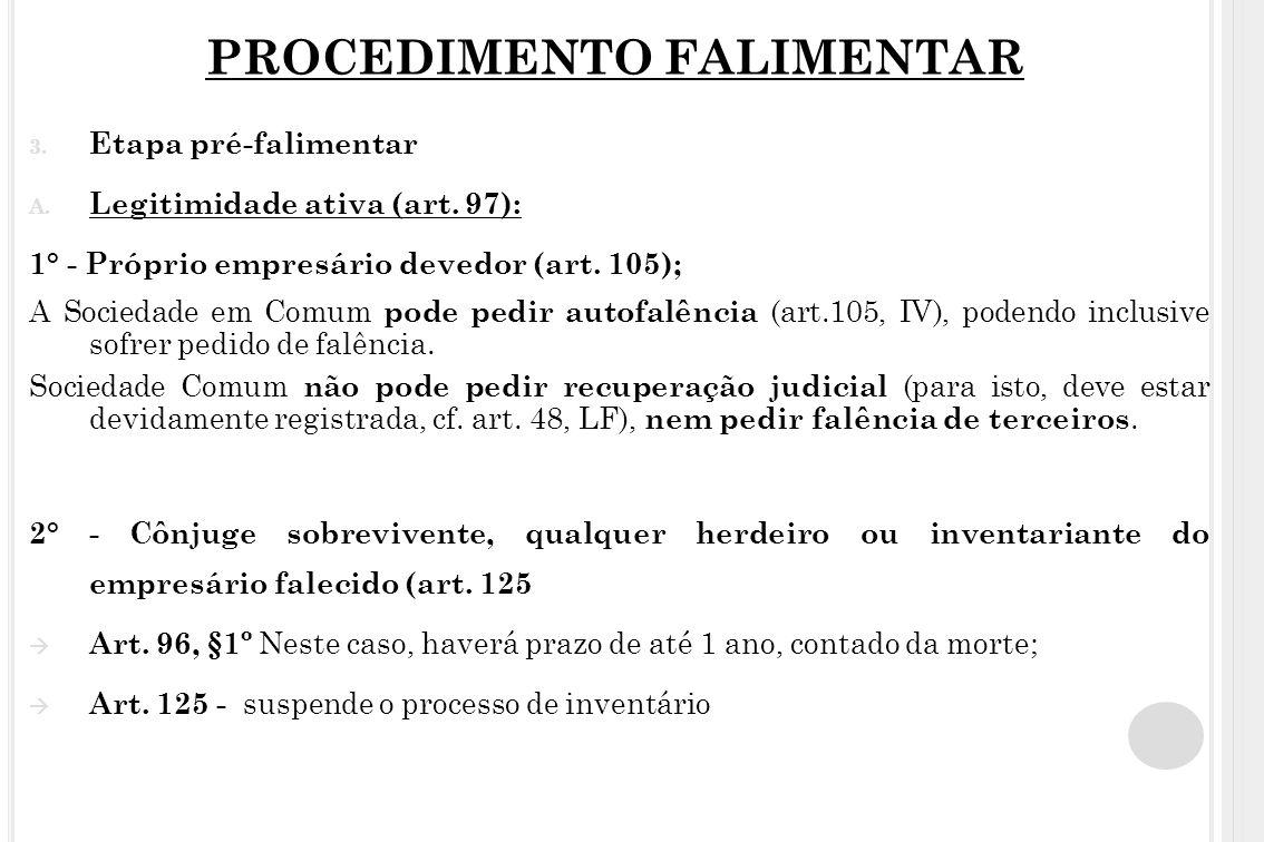 PROCEDIMENTO FALIMENTAR 3. Etapa pré-falimentar A. Legitimidade ativa (art. 97): 1° - Próprio empresário devedor (art. 105); A Sociedade em Comum pode