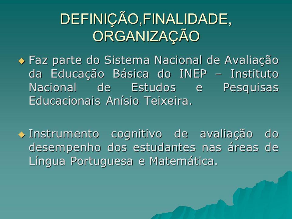 DEFINIÇÃO,FINALIDADE, ORGANIZAÇÃO Faz parte do Sistema Nacional de Avaliação da Educação Básica do INEP – Instituto Nacional de Estudos e Pesquisas Educacionais Anísio Teixeira.