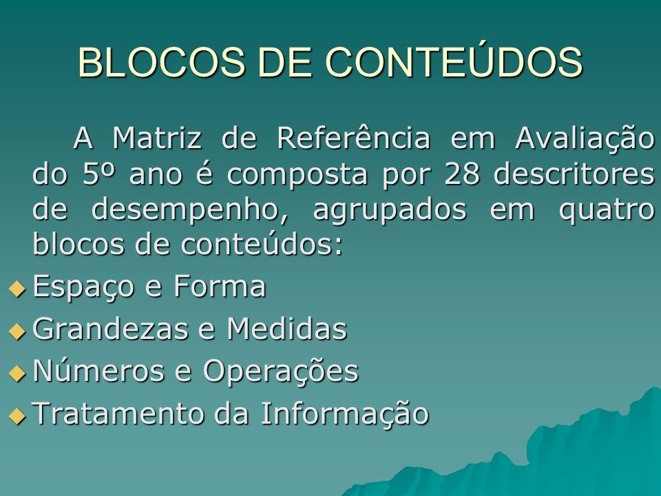 BLOCOS DE CONTEÚDOS A Matriz de Referência em Avaliação do 5º ano é composta por 28 descritores de desempenho, agrupados em quatro blocos de conteúdos