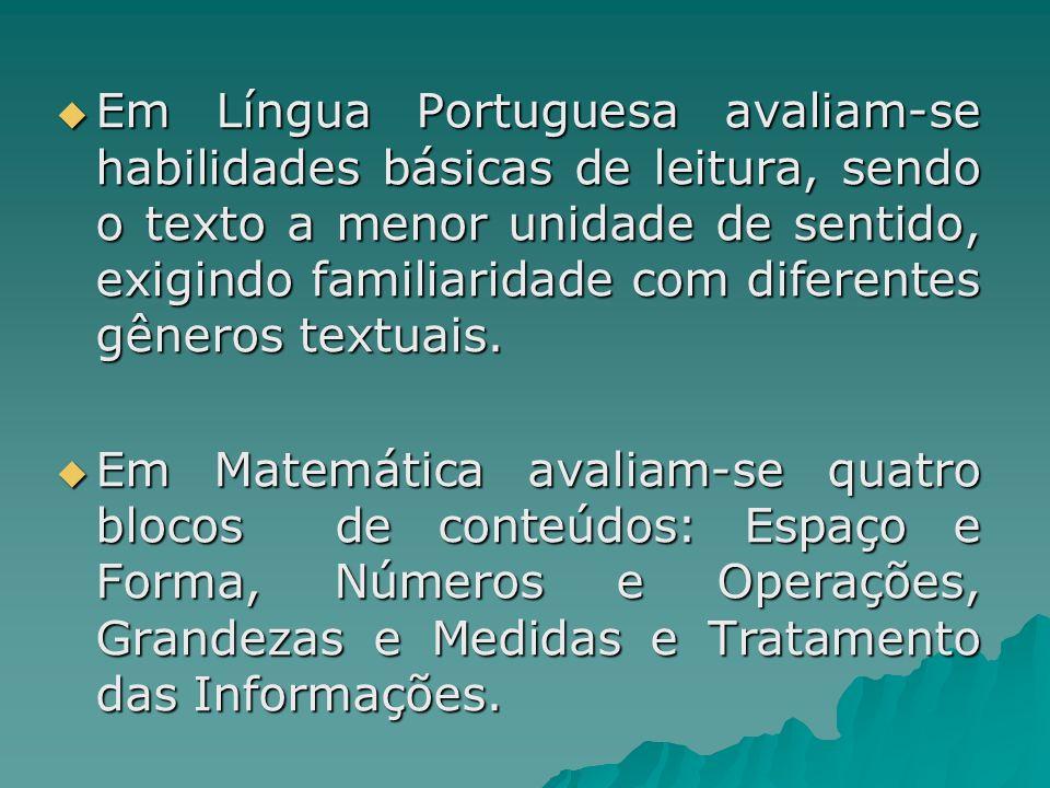 Em Língua Portuguesa avaliam-se habilidades básicas de leitura, sendo o texto a menor unidade de sentido, exigindo familiaridade com diferentes gênero