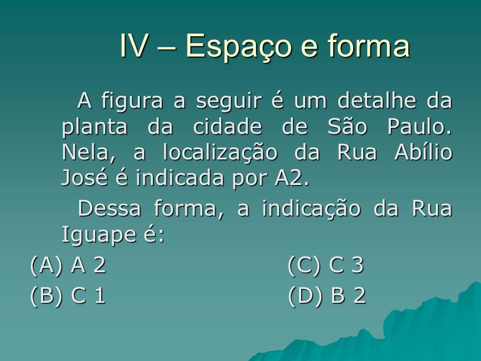 IV – Espaço e forma A figura a seguir é um detalhe da planta da cidade de São Paulo. Nela, a localização da Rua Abílio José é indicada por A2. Dessa f