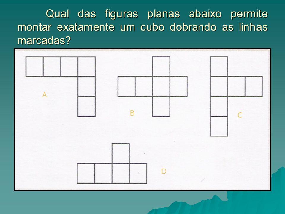 Qual das figuras planas abaixo permite montar exatamente um cubo dobrando as linhas marcadas? A B C D