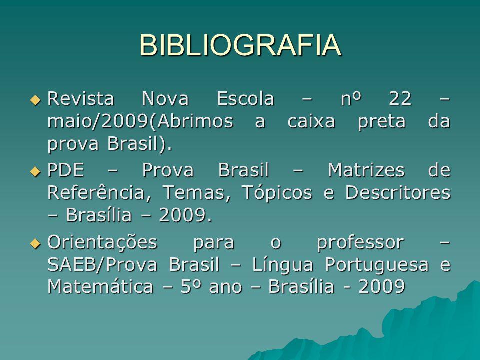 BIBLIOGRAFIA Revista Nova Escola – nº 22 – maio/2009(Abrimos a caixa preta da prova Brasil). Revista Nova Escola – nº 22 – maio/2009(Abrimos a caixa p