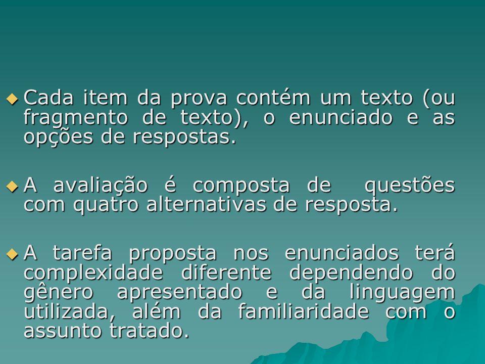 Cada item da prova contém um texto (ou fragmento de texto), o enunciado e as opções de respostas. Cada item da prova contém um texto (ou fragmento de