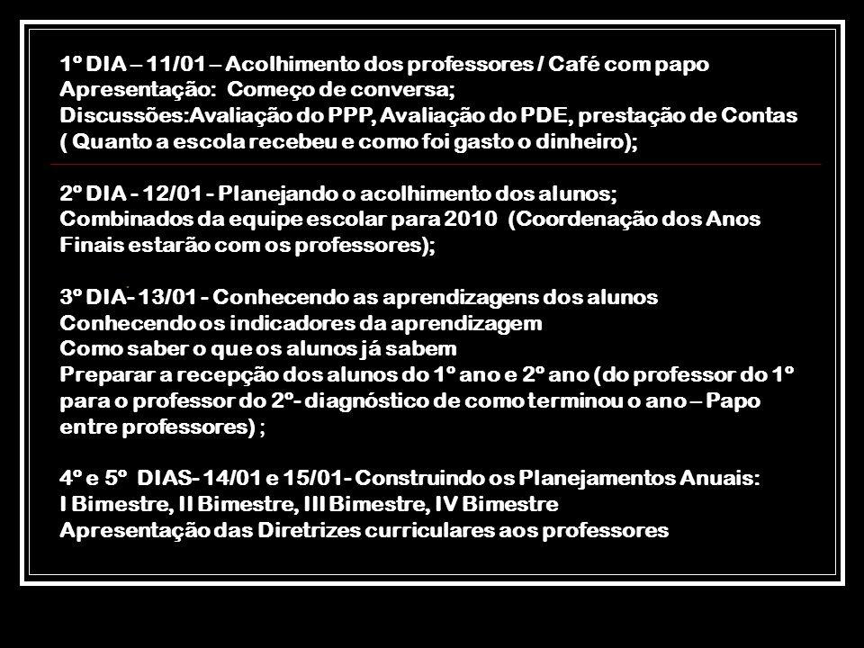 . 1º DIA – 11/01 – Acolhimento dos professores / Café com papo Apresentação: Começo de conversa; Discussões:Avaliação do PPP, Avaliação do PDE, presta