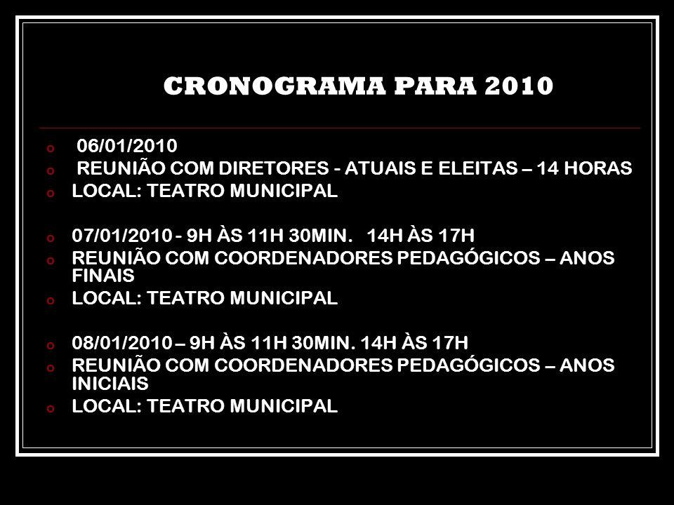 CRONOGRAMA PARA 2010 o 06/01/2010 o REUNIÃO COM DIRETORES - ATUAIS E ELEITAS – 14 HORAS o LOCAL: TEATRO MUNICIPAL o 07/01/2010 - 9H ÀS 11H 30MIN. 14H