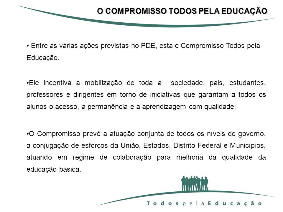 Entre as várias ações previstas no PDE, está o Compromisso Todos pela Educação. Ele incentiva a mobilização de toda a sociedade, pais, estudantes, pro