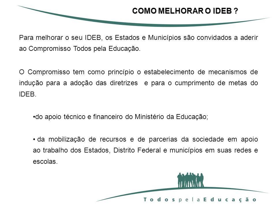 Para melhorar o seu IDEB, os Estados e Municípios são convidados a aderir ao Compromisso Todos pela Educação. O Compromisso tem como princípio o estab
