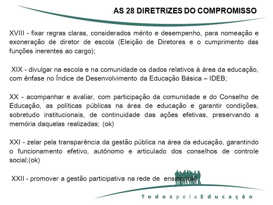 AS 28 DIRETRIZES DO COMPROMISSO XVIII - fixar regras claras, considerados mérito e desempenho, para nomeação e exoneração de diretor de escola (Eleiçã