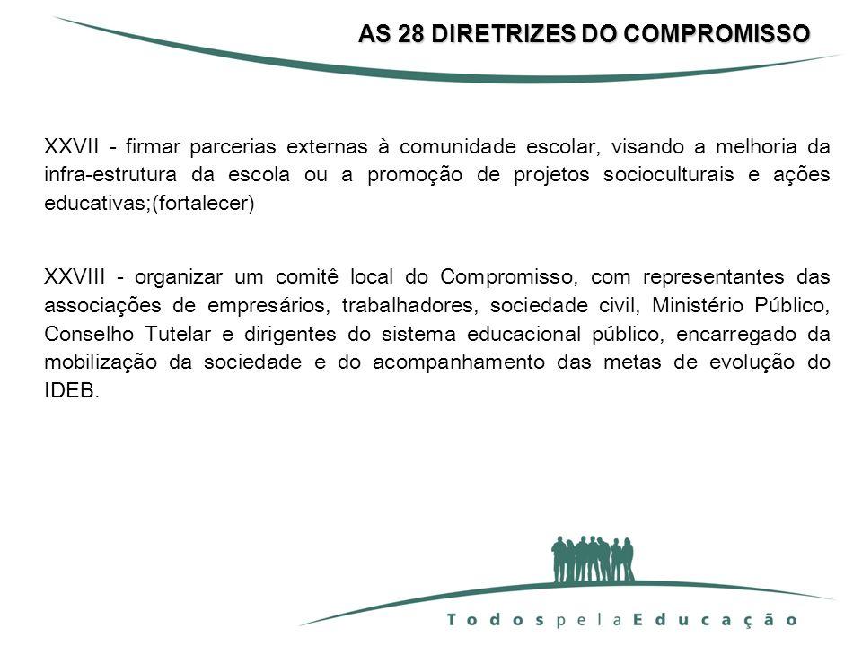 AS 28 DIRETRIZES DO COMPROMISSO XXVII - firmar parcerias externas à comunidade escolar, visando a melhoria da infra-estrutura da escola ou a promoção