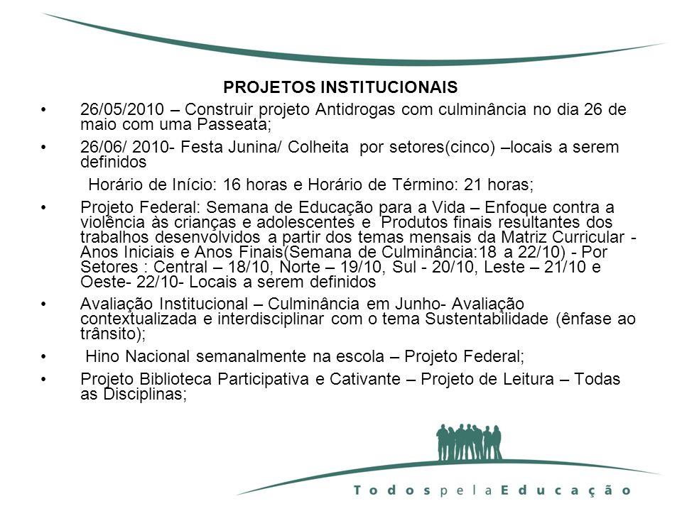 PROJETOS INSTITUCIONAIS 26/05/2010 – Construir projeto Antidrogas com culminância no dia 26 de maio com uma Passeata; 26/06/ 2010- Festa Junina/ Colhe