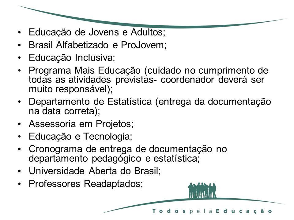 Educação de Jovens e Adultos; Brasil Alfabetizado e ProJovem; Educação Inclusiva; Programa Mais Educação (cuidado no cumprimento de todas as atividade