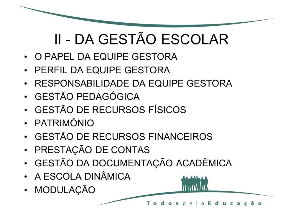 II - DA GESTÃO ESCOLAR O PAPEL DA EQUIPE GESTORA PERFIL DA EQUIPE GESTORA RESPONSABILIDADE DA EQUIPE GESTORA GESTÃO PEDAGÓGICA GESTÃO DE RECURSOS FÍSI
