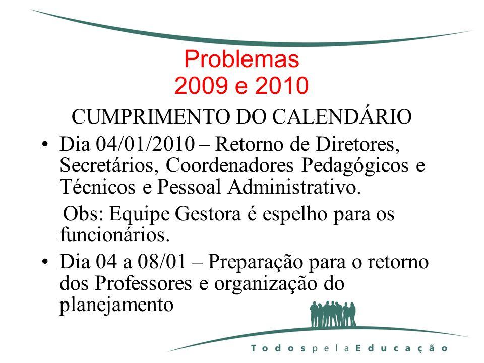 Problemas 2009 e 2010 CUMPRIMENTO DO CALENDÁRIO Dia 04/01/2010 – Retorno de Diretores, Secretários, Coordenadores Pedagógicos e Técnicos e Pessoal Adm