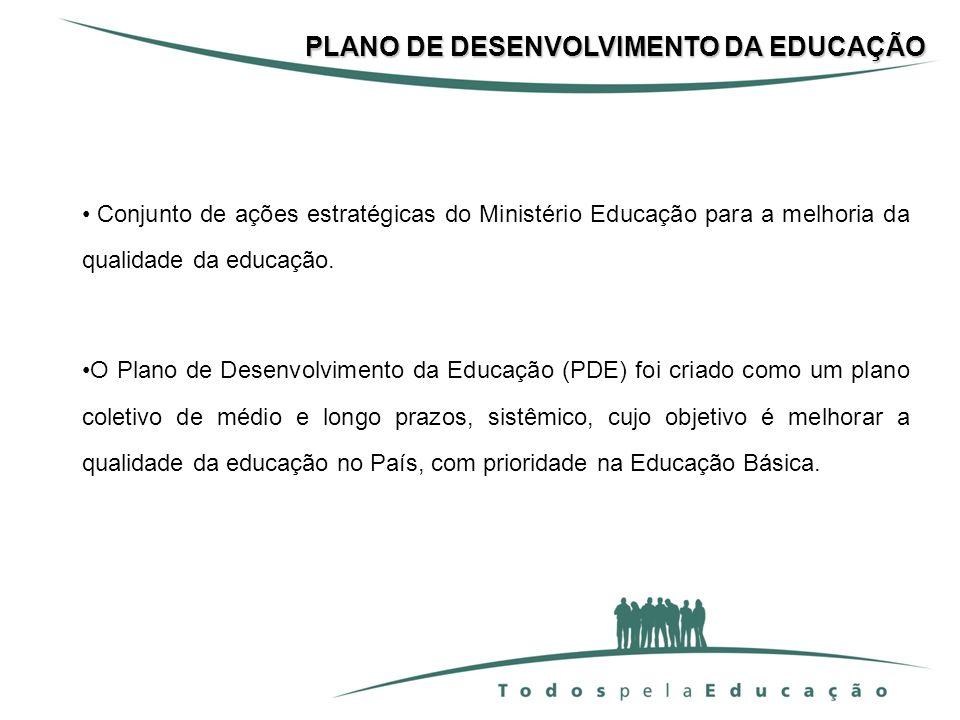 Conjunto de ações estratégicas do Ministério Educação para a melhoria da qualidade da educação. O Plano de Desenvolvimento da Educação (PDE) foi criad