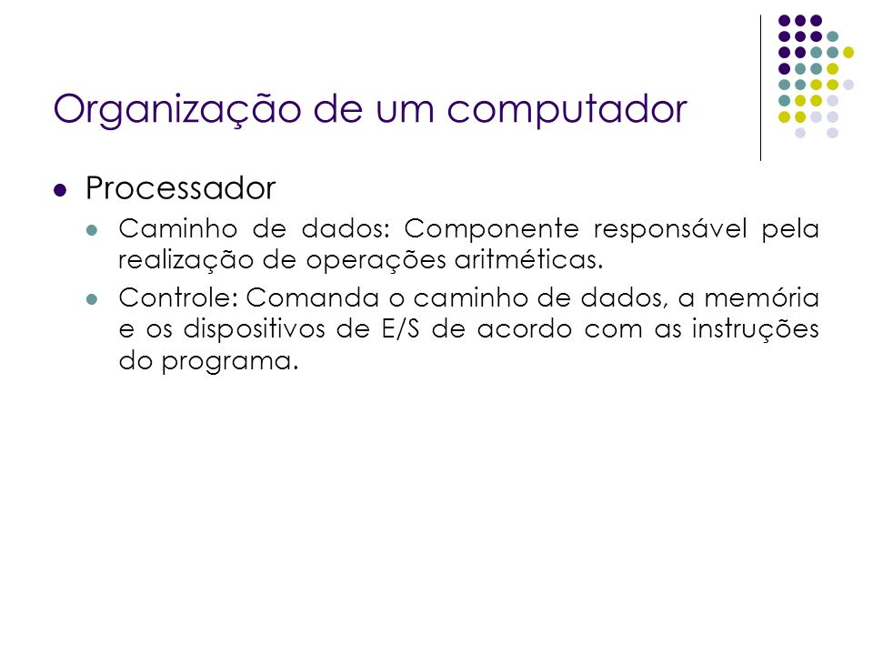 Organização de um computador Processador Caminho de dados: Componente responsável pela realização de operações aritméticas. Controle: Comanda o caminh