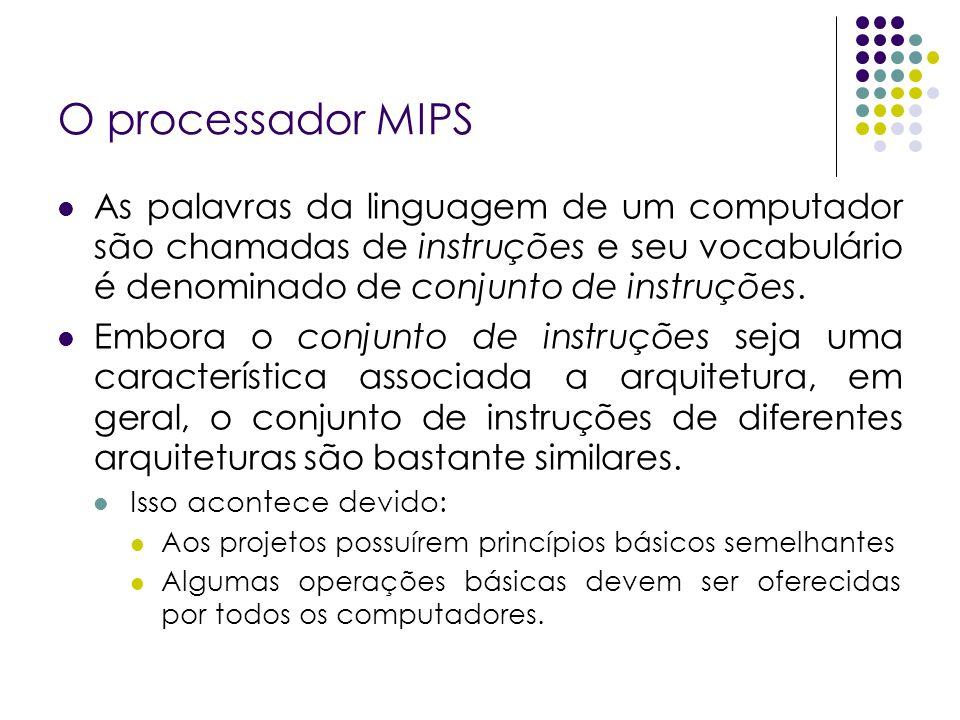 O processador MIPS As palavras da linguagem de um computador são chamadas de instruções e seu vocabulário é denominado de conjunto de instruções. Embo