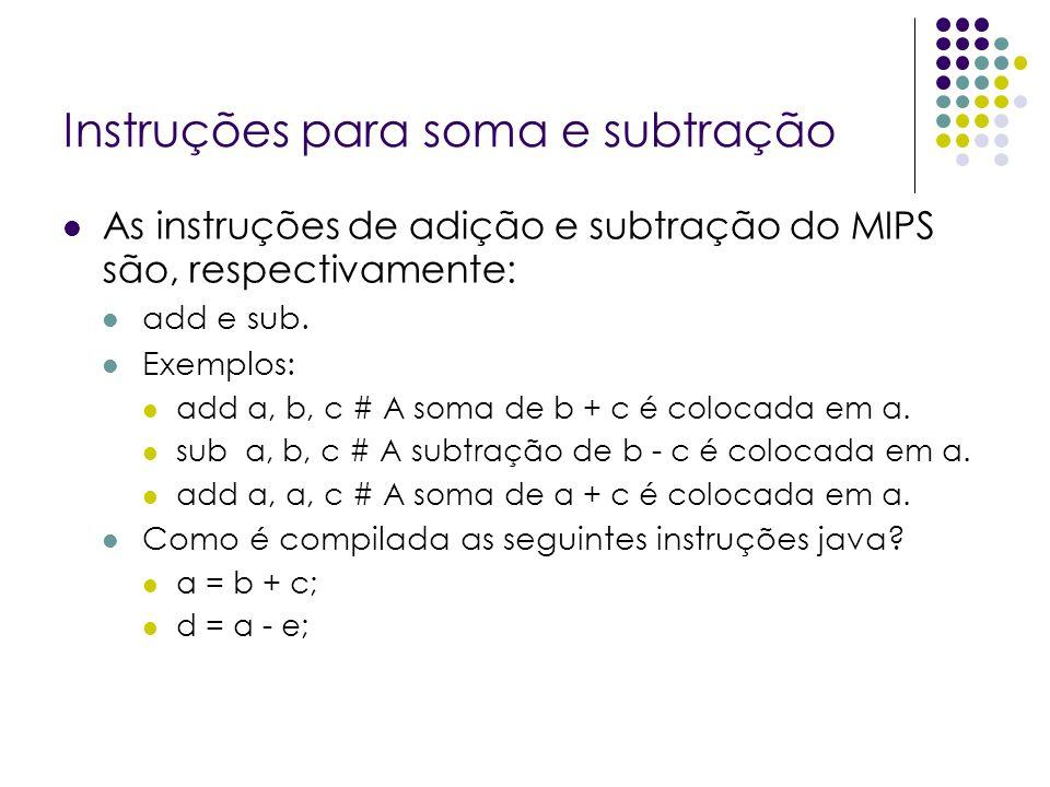 Instruções para soma e subtração As instruções de adição e subtração do MIPS são, respectivamente: add e sub. Exemplos: add a, b, c # A soma de b + c