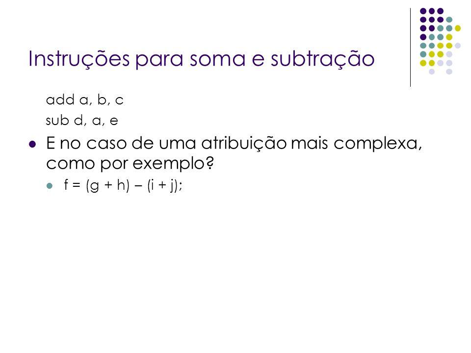 Instruções para soma e subtração add a, b, c sub d, a, e E no caso de uma atribuição mais complexa, como por exemplo? f = (g + h) – (i + j);