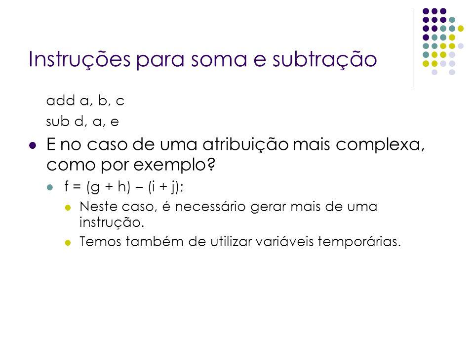 Instruções para soma e subtração add a, b, c sub d, a, e E no caso de uma atribuição mais complexa, como por exemplo? f = (g + h) – (i + j); Neste cas