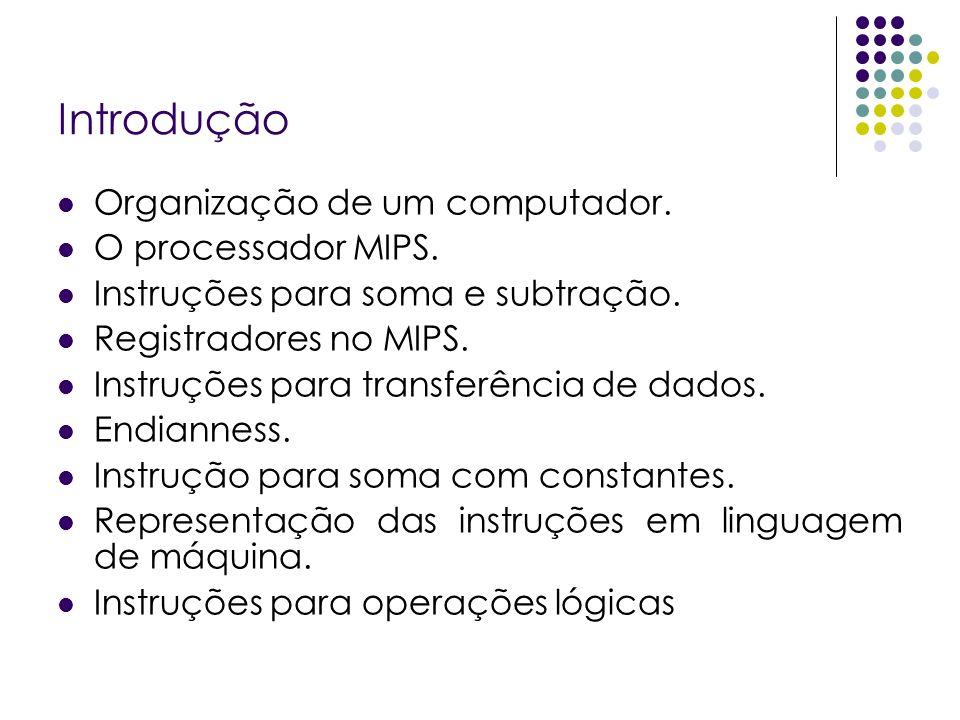 Introdução Organização de um computador. O processador MIPS. Instruções para soma e subtração. Registradores no MIPS. Instruções para transferência de