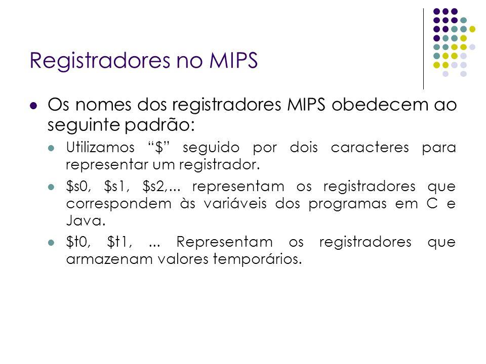 Registradores no MIPS Os nomes dos registradores MIPS obedecem ao seguinte padrão: Utilizamos $ seguido por dois caracteres para representar um regist