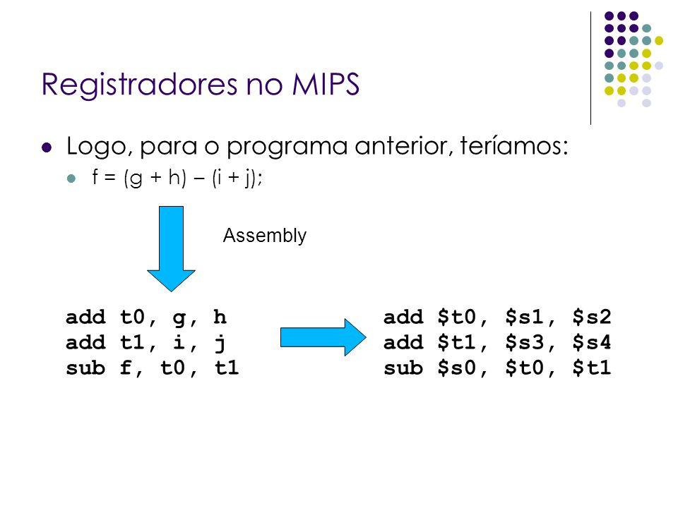 Registradores no MIPS Logo, para o programa anterior, teríamos: f = (g + h) – (i + j); Assembly add t0, g, h add t1, i, j sub f, t0, t1 add $t0, $s1,
