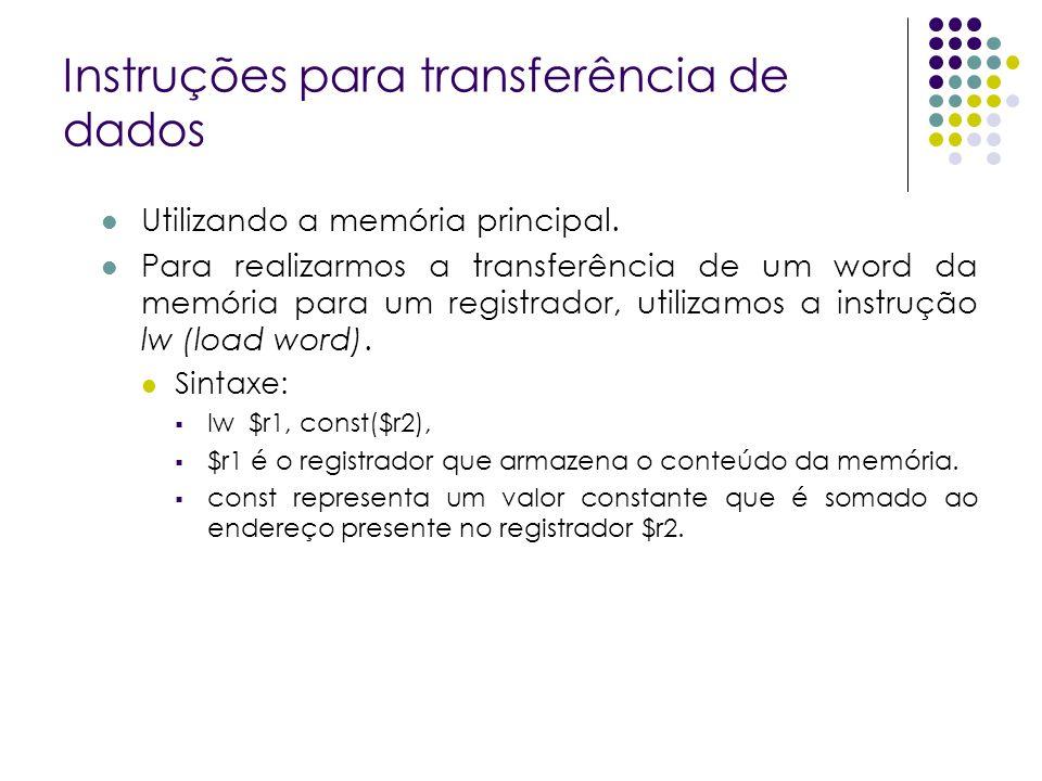 Instruções para transferência de dados Utilizando a memória principal. Para realizarmos a transferência de um word da memória para um registrador, uti