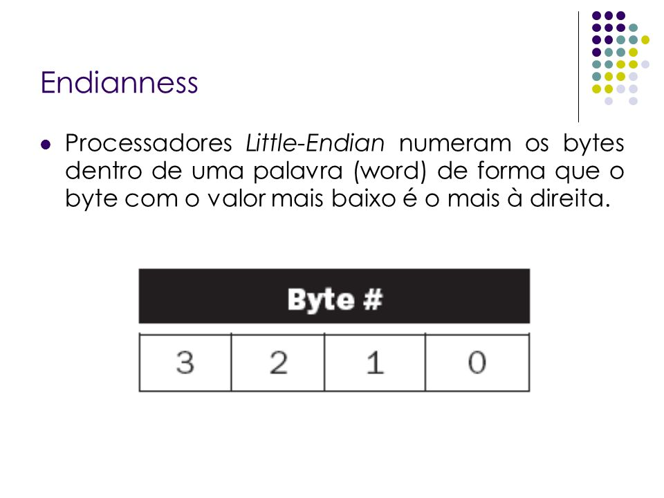 Endianness Processadores Little-Endian numeram os bytes dentro de uma palavra (word) de forma que o byte com o valor mais baixo é o mais à direita.