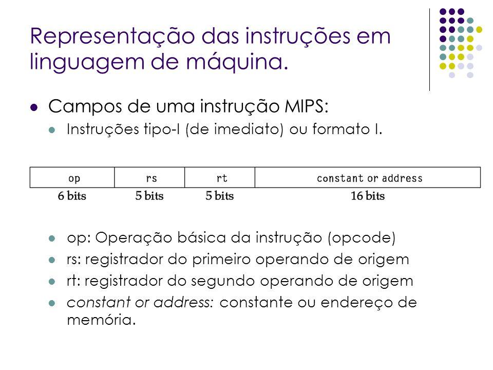 Representação das instruções em linguagem de máquina. Campos de uma instrução MIPS: Instruções tipo-I (de imediato) ou formato I. op: Operação básica