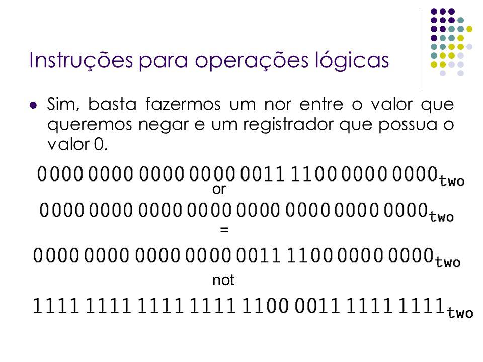 Instruções para operações lógicas Sim, basta fazermos um nor entre o valor que queremos negar e um registrador que possua o valor 0. or = not