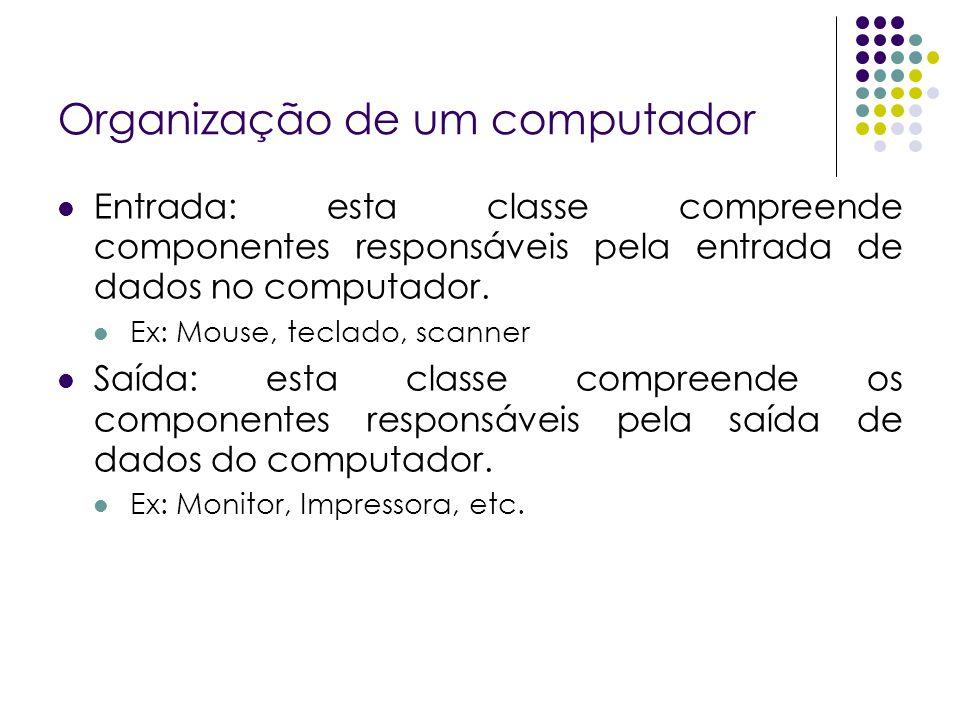 Organização de um computador Entrada: esta classe compreende componentes responsáveis pela entrada de dados no computador. Ex: Mouse, teclado, scanner