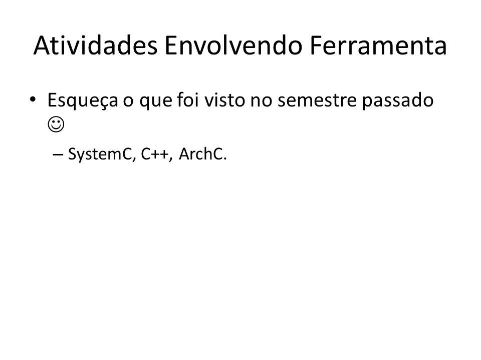Atividades Envolvendo Ferramenta Esqueça o que foi visto no semestre passado – SystemC, C++, ArchC.