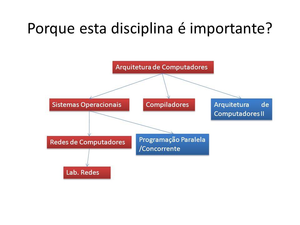 Porque esta disciplina é importante? Sistemas Operacionais Arquitetura de Computadores Compiladores Redes de Computadores Lab. Redes Arquitetura de Co