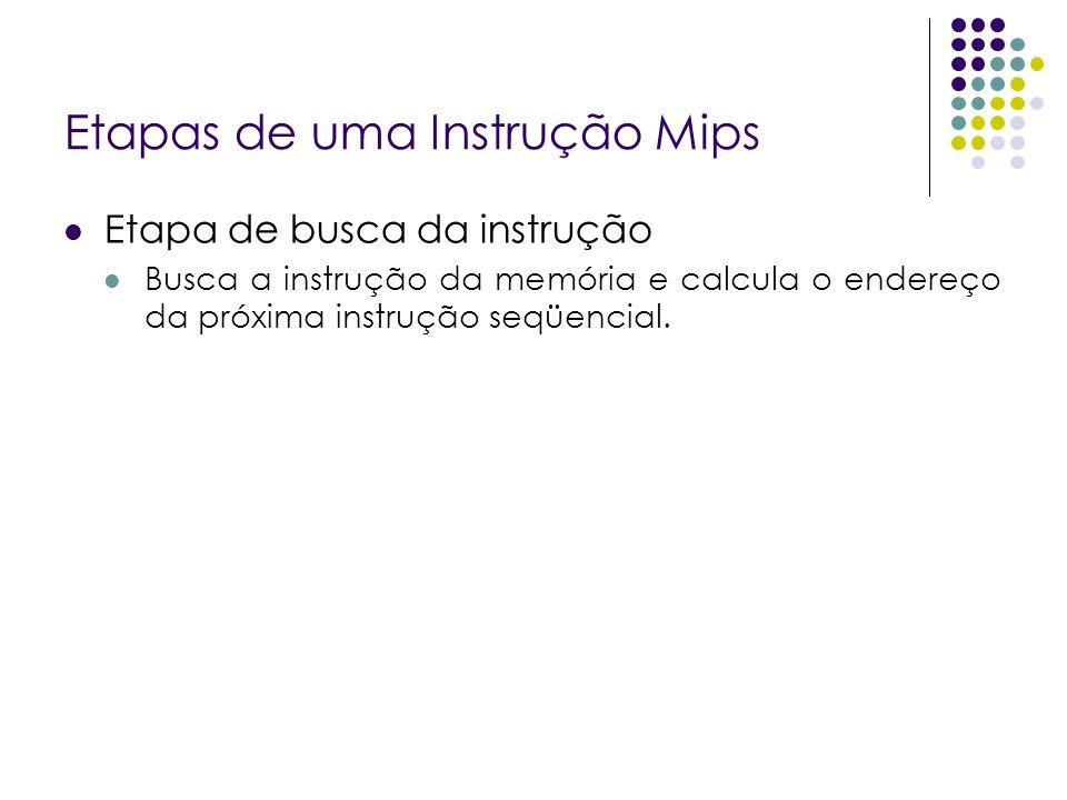 Etapas de uma Instrução Mips Etapa de busca da instrução Busca a instrução da memória e calcula o endereço da próxima instrução seqüencial.