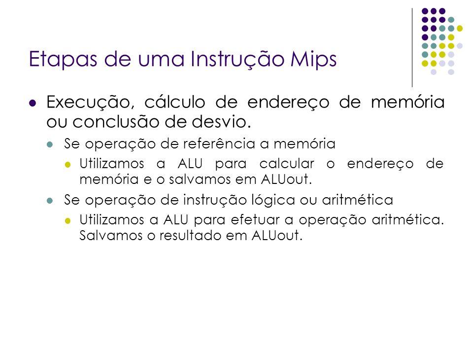 Etapas de uma Instrução Mips Execução, cálculo de endereço de memória ou conclusão de desvio.