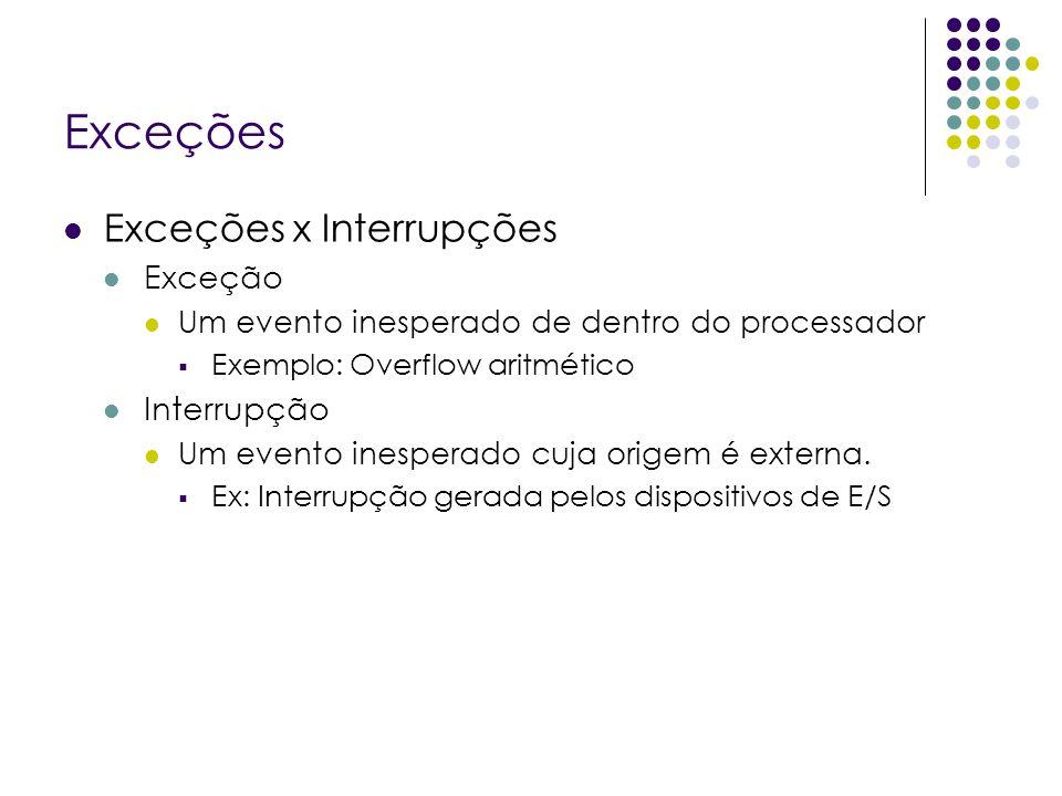 Exceções Exceções x Interrupções Exceção Um evento inesperado de dentro do processador Exemplo: Overflow aritmético Interrupção Um evento inesperado cuja origem é externa.