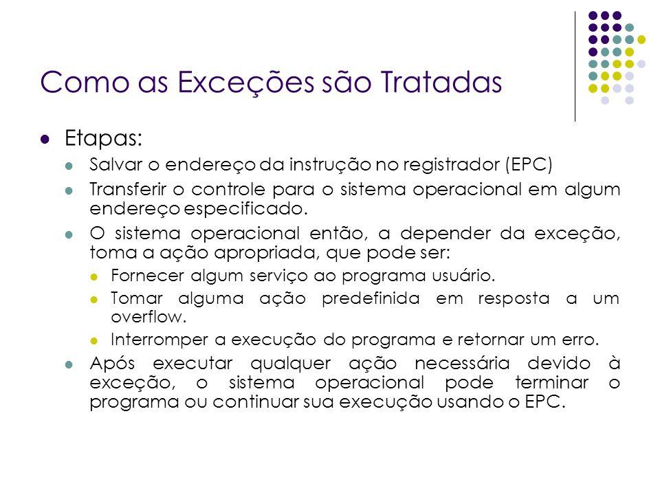 Como as Exceções são Tratadas Etapas: Salvar o endereço da instrução no registrador (EPC) Transferir o controle para o sistema operacional em algum endereço especificado.