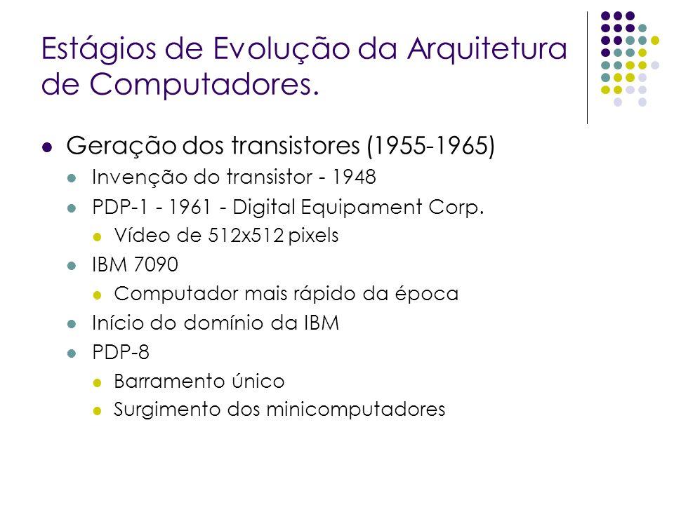 Geração dos transistores (1955-1965) Invenção do transistor - 1948 PDP-1 - 1961 - Digital Equipament Corp.